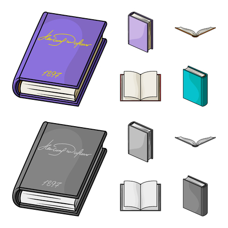 Various kinds of books. Books set collection icons in cartoon,monochrome style vector symbol stock illustration web.