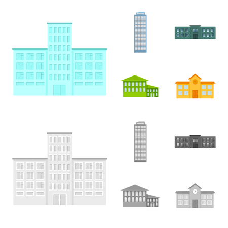 Skyscraper, police, hotel, school.Building set collection icons in cartoon,monochrome style vector symbol stock illustration web. Illustration