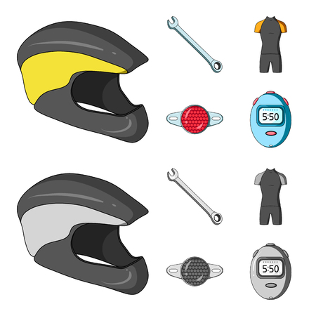A wrench, a bicyclist s bone, a reflector, a timer.Cyclist outfit set collection icons in cartoon,monochrome style vector symbol stock illustration web.