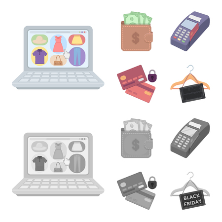 Purse, money, touch, hanger and other equipment. E commerce set collection icons in cartoon,monochrome style vector symbol stock illustration web.