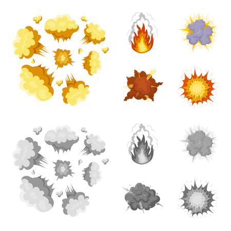 Flamme, étincelles, fragments d'hydrogène, explosion atomique ou gazeuse, orage, explosion solaire. Explosions définir des icônes de la collection en dessin animé, style monochrome vecteur symbole stock illustration web. Vecteurs