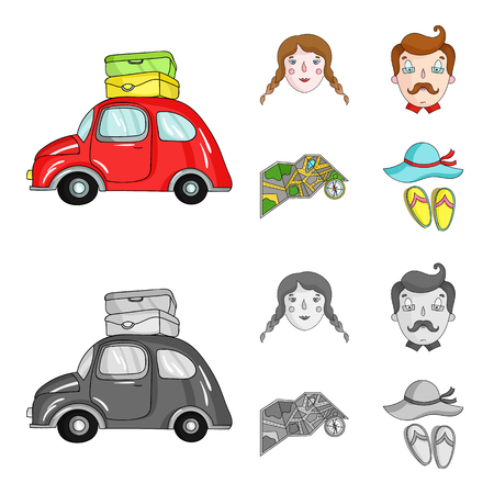 Travel, vacation, camping, map .Family holiday set collection icons in cartoon,monochrome style vector symbol stock illustration web. 向量圖像