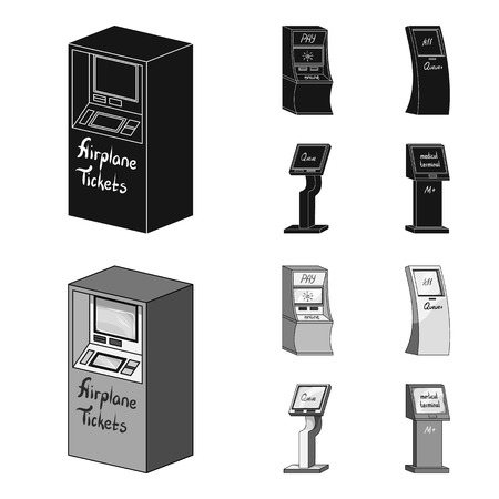 Medical terminal, ATM for payment,apparatus for queue. Terminals set collection icons in black,monochrome style isometric vector symbol stock illustration web .