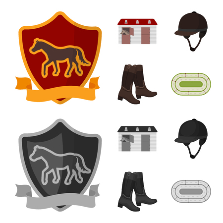 Boots, grass, stadium, track, rest .Hippodrome and horse set collection icons in cartoon,monochrome style vector symbol stock illustration web.
