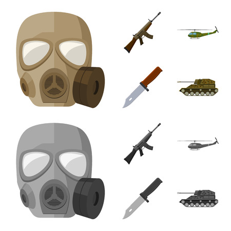 Assault rifle M16, helicopter, tank, combat knife. Military and army set collection icons in cartoon,monochrome style vector symbol stock illustration web.