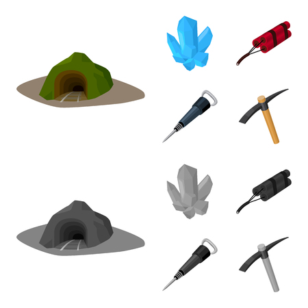 Minerals, explosives, jackhammer, pickaxe.Mining industry set collection icons in cartoon,monochrome style vector symbol stock illustration web.