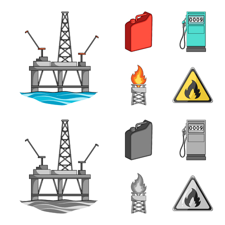 Canister for gasoline, gas station, tower, warning sign. Oil set collection icons in cartoon,monochrome style vector symbol stock illustration web.