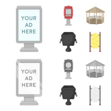 Telephone automatic, gazebo, garbage can, wall for children. Park set collection icons in cartoon,monochrome style vector symbol stock illustration web.