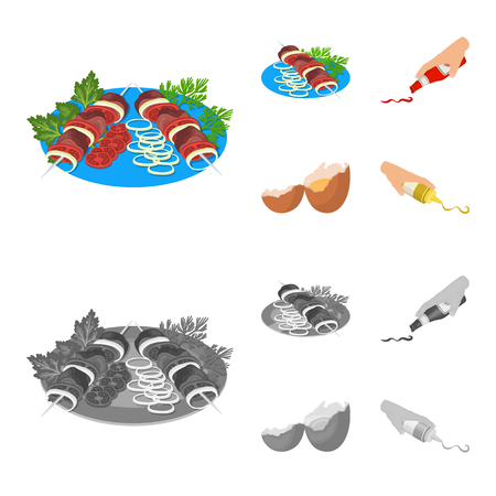 Shish kebab with vegetables, ketchup and mustard, seasoning for food, broken egg. Food and Cooking set collection icons in cartoon,monochrome style vector symbol stock illustration web.