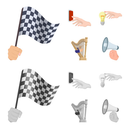 Electric switch button, incandescent lamp and other web icon in cartoon,monochrome style. harp playing, Megaphone in hand icons in set collection.