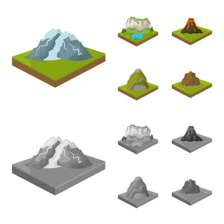 Mountains, rocks and landscape. Relief and mountains set collection icons in cartoon,monochrome style isometric vector symbol stock illustration web. Illusztráció