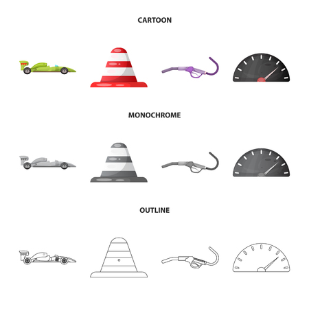 Vector design of car and rally symbol. Set of car and race vector icon for stock. Ilustração