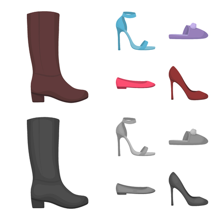 Blue high-heeled sandals, homemade lilac slippers with a pampon, pink women s ballet flats, brown high-heeled shoes. Shoes set collection icons in cartoon,monochrome style vector symbol stock illustration web.