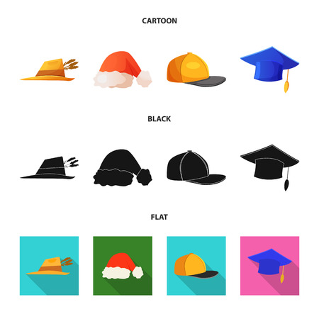 Diseño vectorial de sombrero y signo de gorra. Conjunto de sombreros y accesorios ilustración vectorial de stock.