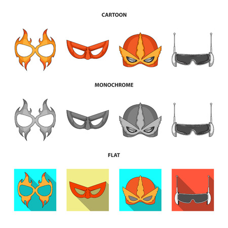 Vector illustration of hero and mask icon. Set of hero and superhero vector icon for stock. Illustration
