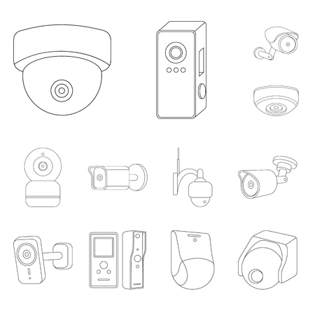 Vector illustration of cctv and camera icon. Collection of cctv and system stock symbol for web. Illusztráció