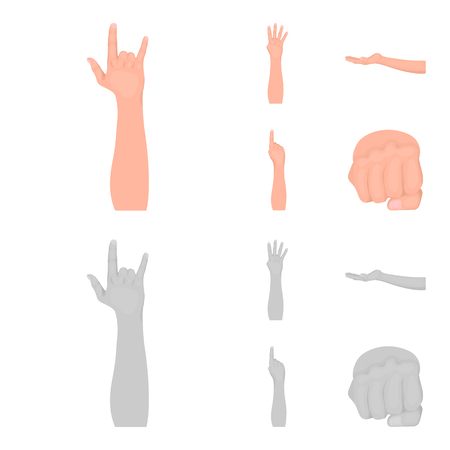 Sign Language cartoon,monochrome icons in set collection for design.Emotional part of communication vector symbol stock web illustration.