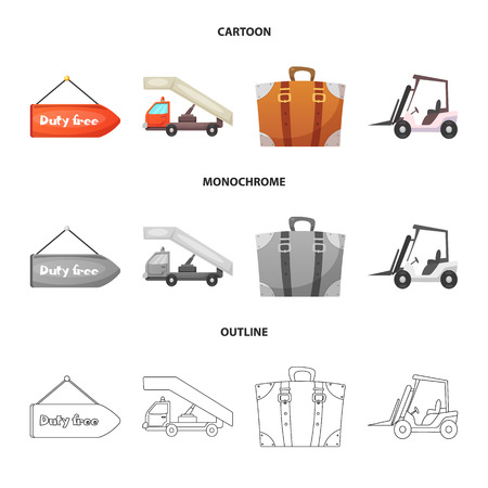 Vector illustration of airport and airplane icon. Collection of airport and plane vector icon for stock. Ilustração