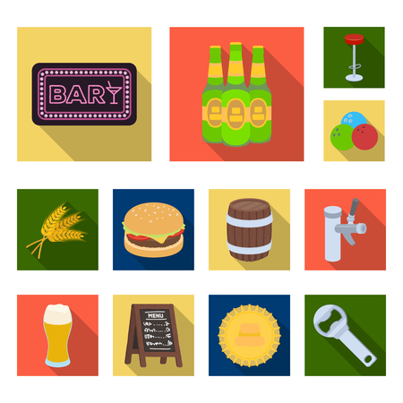 Pub, interior and equipment flat icons in set collection for design. Alcohol and food vector symbol stock web illustration. Ilustracja