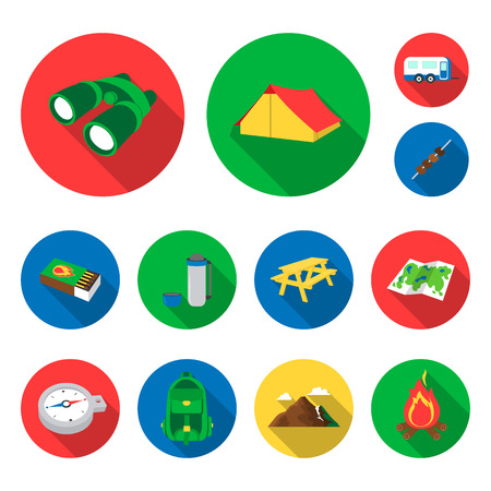 Rest in the camping flat icons in set collection for design. Camping and equipment vector symbol stock web illustration. Stock Illustratie