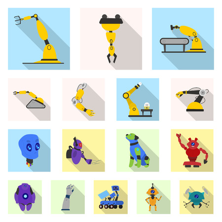 Vector design of robot and factory logo. Set of robot and space stock vector illustration. Ilustrace