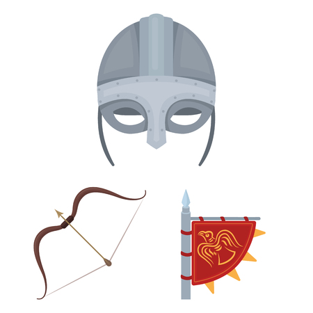 Vikings and attributes cartoon icons in set collection for design.Old Norse Warrior vector symbol stock  illustration.
