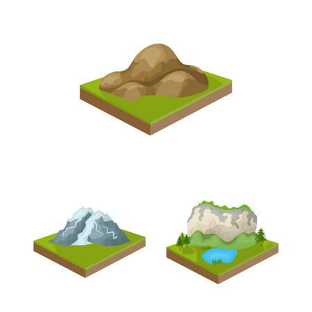 Montañas, iconos de dibujos animados masivos de colección set de diseño. La superficie de la ilustración común del símbolo isométrico del vector de la tierra.