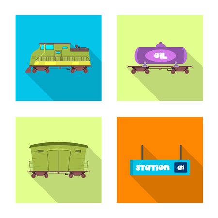 Vector illustration of train and station icon. Set of train and ticket vector icon for stock.