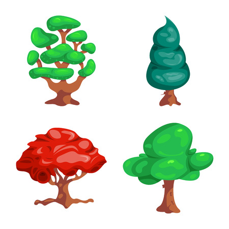 Vector illustration of tree and nature logo. Collection of tree and crown stock vector illustration.