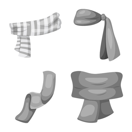 Vector design of scarf and shawl icon. Set of scarf and accessory vector icon for stock.  イラスト・ベクター素材