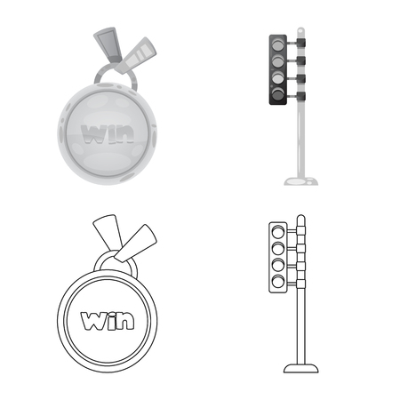 Vector illustration of car and rally icon. Set of car and race stock symbol for web.