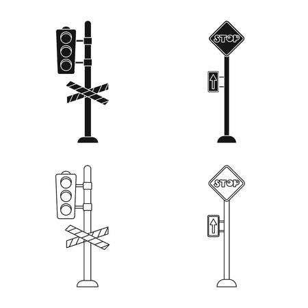 駅と駅のロゴの孤立したオブジェクト。●列車とチケットのストックベクトルイラストのセット。
