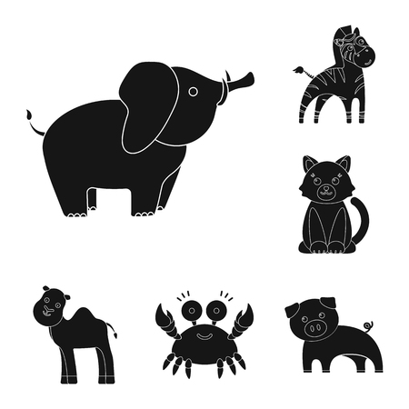 An unrealistic black animal icons in set collection for design. Toy animals vector symbol stock illustration.