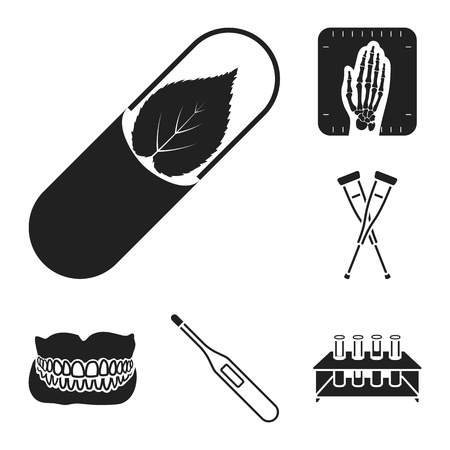 Medicine and treatment black icons in set collection for design. Medicine and equipment vector symbol stock web illustration. Illustration