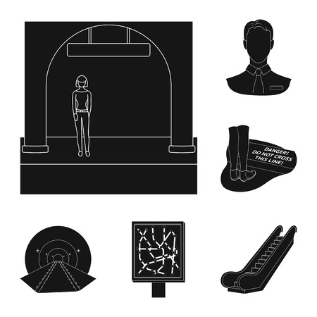 Metro, subway black icons in set collection for design.Urban transport vector symbol stock  illustration.