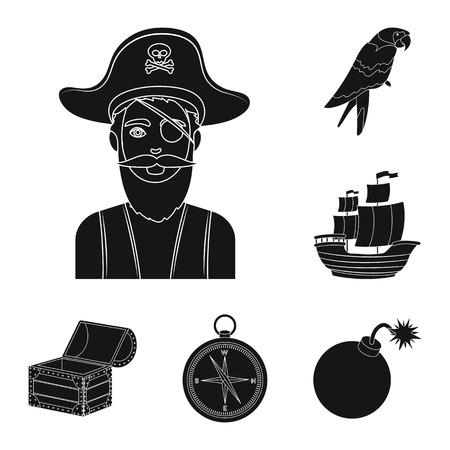 Pirate, voleur de mer icônes noires dans la collection de jeu pour la conception. Trésors, attributs symbole vecteur illustration de stock.