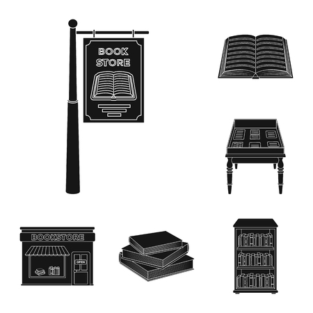 Library and bookstore black icons in set collection for design. Books and furnishings vector symbol stock web illustration. Vektoros illusztráció