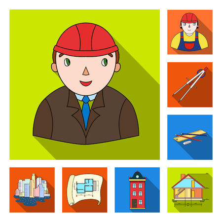 Architecture and construction flat icons in set collection for design. Architect and equipment vector symbol stock  illustration.