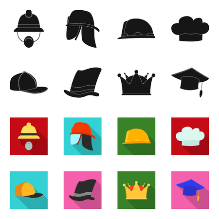 Vector design of headwear and cap sign. Collection of headwear and accessory stock symbol for web. Illustration