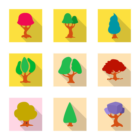 Isolated object of tree and nature logo. Collection of tree and crown stock symbol for web. Vettoriali