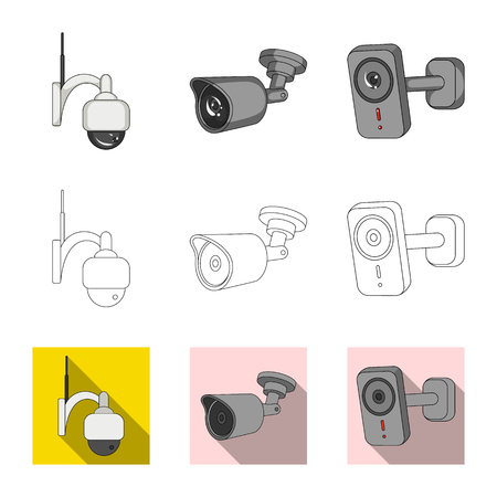 Vector illustration of cctv and camera sign. Set of cctv and system stock vector illustration.