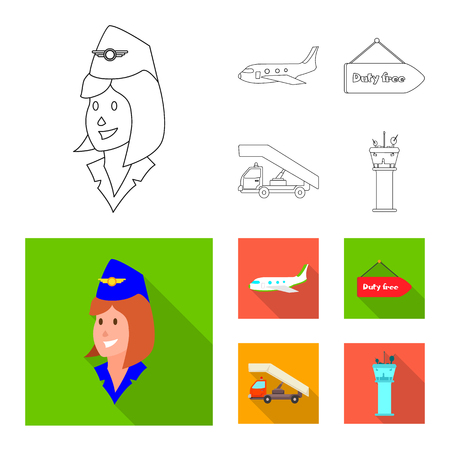 Isolated object of airport and airplane logo. Set of airport and plane stock symbol for web.