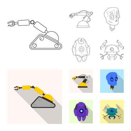 Isolated object of robot and factory symbol. Set of robot and space vector icon for stock.