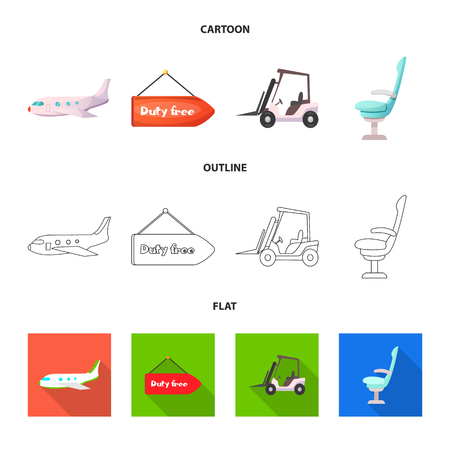 Isolated object of airport and airplane icon. Collection of airport and plane stock vector illustration. 向量圖像