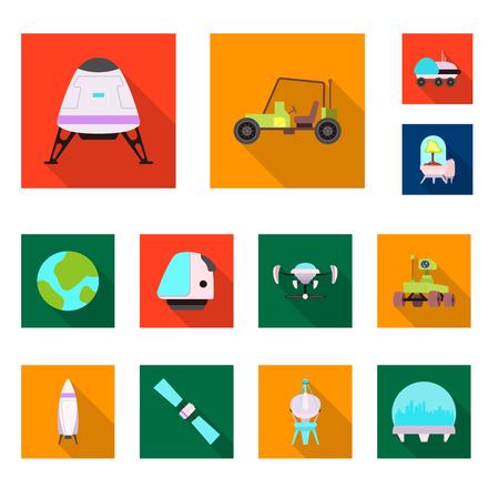 Illustration vectorielle de mars et signe de l'espace. Collection de mars et planète symbole boursier pour le web. Vecteurs