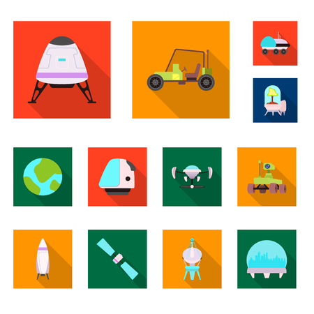 Vector illustration of mars and space sign. Collection of mars and planet stock symbol for web. Иллюстрация