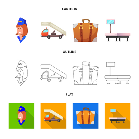 Vector design of airport and airplane logo. Collection of airport and plane vector icon for stock.