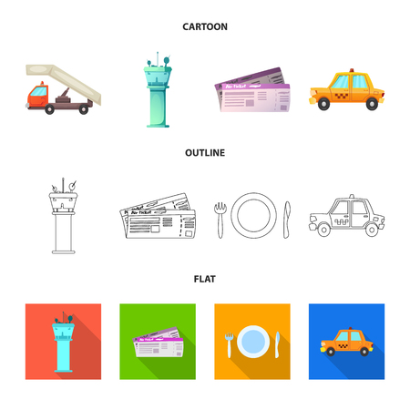 Vector design of airport and airplane icon. Set of airport and plane stock vector illustration. Illustration