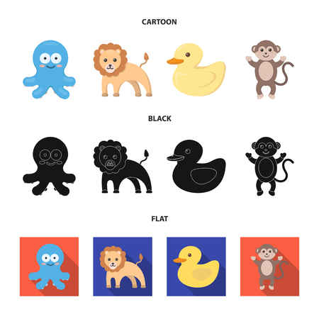 An unrealistic cartoon,black,flat animal icons in set collection for design. Toy animals vector symbol stock  illustration.