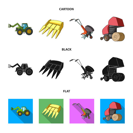 Motoblock and other agricultural devices. Agricultural machinery set collection icons in cartoon,black,flat style vector symbol stock illustration .